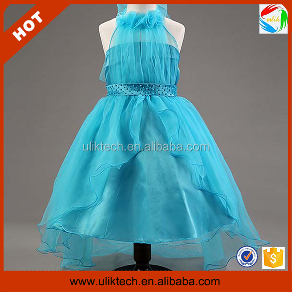 Wholesale girls frock design kids strapless dresses (Ulik-A0202)