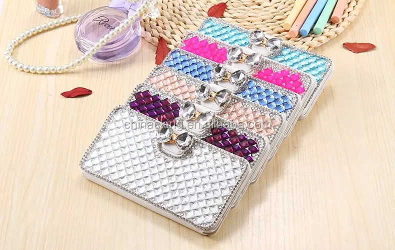 Fashion Full Diamond Rhinestone Mobile Flip Cover Wallet Phone Case For Samsung S7 Edge Case