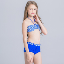 New striped Girl's Bikini 2017 for Children Girl Two-piece Bathing Suit Blue Swimsuit for Girls Kids Beach Top With Boxer short