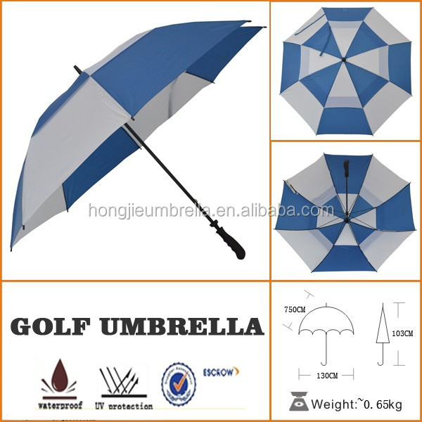 Manual Open Double layer Vented Weather Golf Umbrella with foam handle