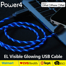 MFi 8Pin to USB Cable Visible Flowing LED EL Light Up Data Sync & Charge Cable Super Fast Transfer Speed up to 480Mb/s for Apple