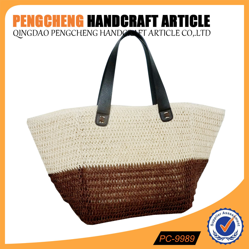 Paper straw material and women beach tote bag style crochet bag