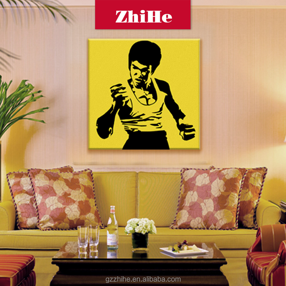 wholesale dropshipping Bruce Lee chinese handmade oil painting wall hanging home decor canvas paintings wall art