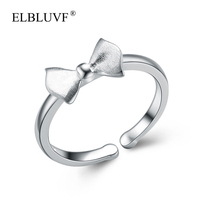 ELBLUVF 925 Sterling Silver Fashion Unique Bow Ring Personalized Ring Jewelry For Women/Girls/Ladies