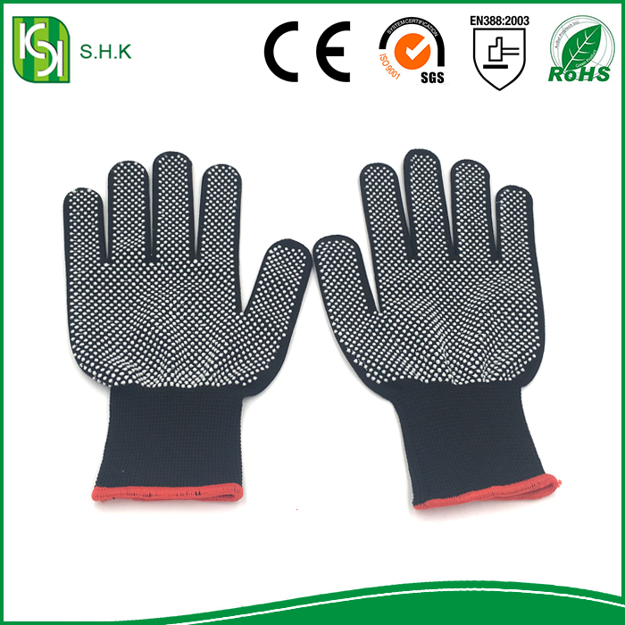 High Performance knitted nylon glove with PVC dots on the palm