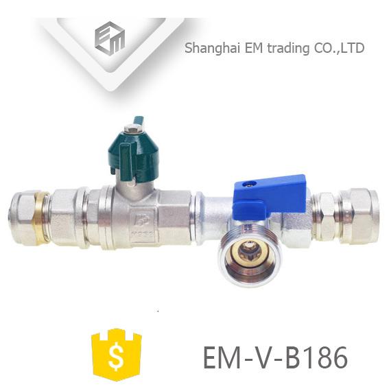 EM-V-B186 Nickel Plating Metal handle 3 way Brass ball valve