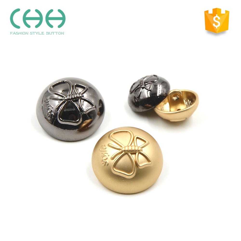 Fashion embossed plating metal buttons for fur coat