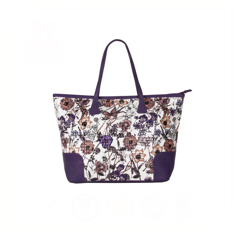 Fashion Flower Printed Tote Bags Wholesale Ladies Leather Handbags Made in China