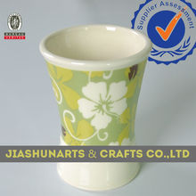 Flower Decal Ceramic Recycle Drinking Cup,Bathroom Set Ceramic Tumbler