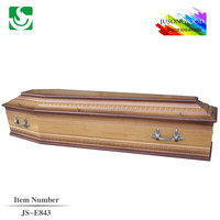 JS-E843 simple antique wooden coffin for the dead with metal handle