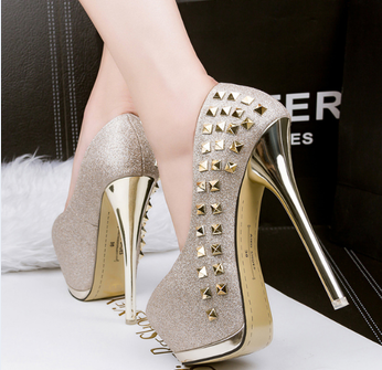 SAA40193 Super high 15cm stiletto heels mature women round head <strong>shoes</strong> with rivet