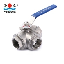 Factory custom stainless steel female screwed 3 way ball valve