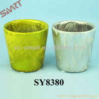 Ceramic pot for flower tall colorful round galvanized pot