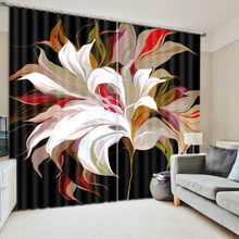 Modern Decorative Custom 3D Digital Print Flower Blackout Window Curtain , Drapery Curtains