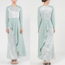 Custom Fashion Green Baju Kurung Peplum Muslim Women Dress 2017