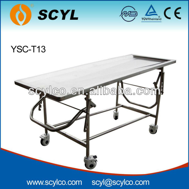 YSC-T13 Foldable Stainless Steel Funeral Embalming Table