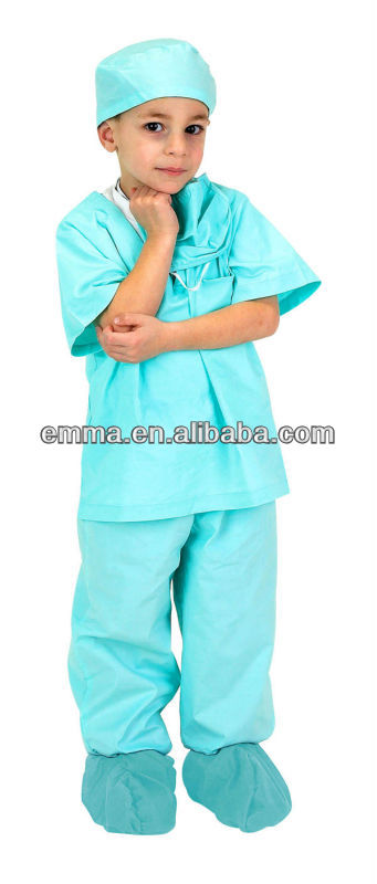Child Green Jr. Doctor Scrubs Set with Cap CC449