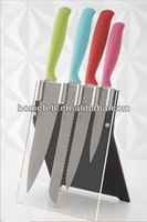 color kitchen knife set with plastic block