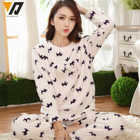 Winter Thicken Cute Sleeping Heart Coral Fleece Pajamas Home Furnishing Suit Cute Plush Pajamas flannel Nightwear thickening