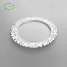 Hot selling dinnerware silver rim salad reusable hard resturant ps transparent plastic plates sets