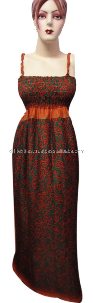 KTED-14 spaghetti strap Night dress Modern Western single one piece girls party dresses Sanganeri Block Printed Jaipur