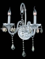 2 Lights Silver Finish Candlebra Crystal Wall Light