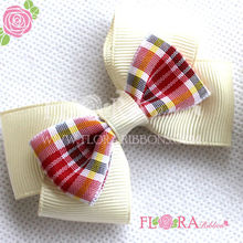 2017 New design cheap flower printed ribbon bow baby hair clips