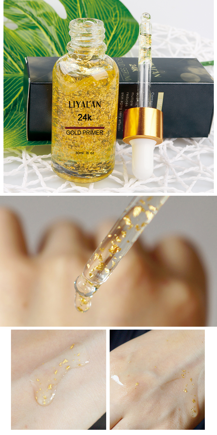 Private Label 24K Gold Serum Anti-Aging Moisturizing Regain Elasticity  Makeup Primer