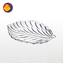 Wholesale flint leaf shape glass dinner plate
