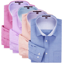 100% Cotton Oxford Plain Color Man's Slim Fit Long Sleeve Business Dress Shirt