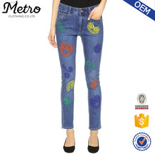 Skinny Boyfriend Jeans with Embroidery OEM Service Stretch denim 2016