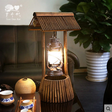 Fancy modern natural bamboo cordless restaurant table lamp