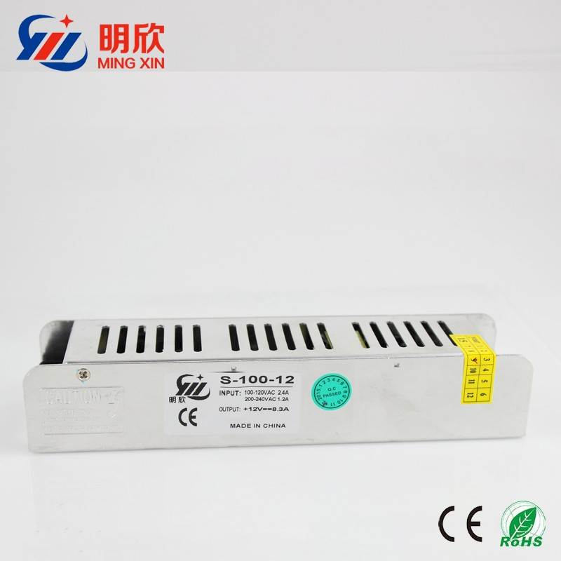 100w slim case switching power supply ,dc 12v 8.5a strip shape constant current led driver