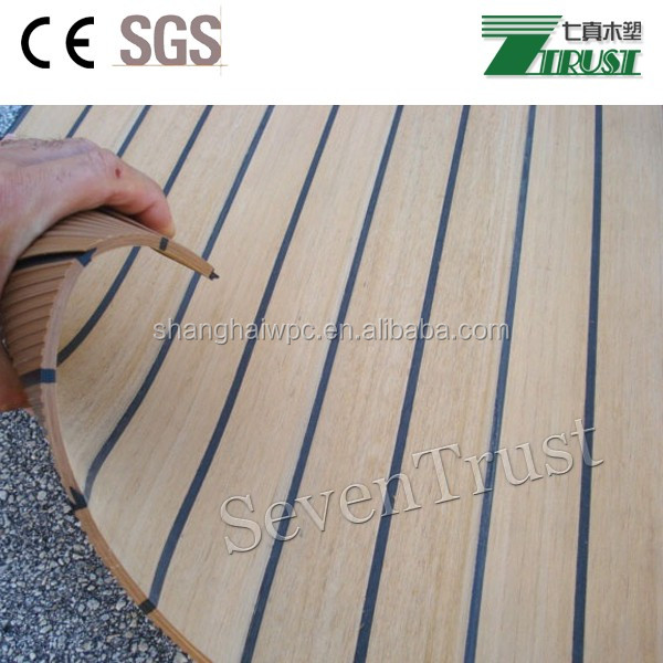 Non Slip Cruises Flooring Teak Color Raw Material