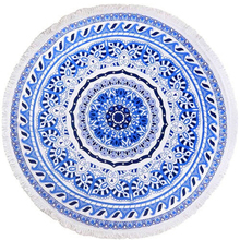 Customised screen Printed Microfiber Circle Beach Towel Large Mandala Round Shape With Tassels Turkish Towel