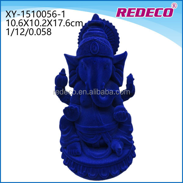 Resin flocking hindu ganesh figurine for decoration
