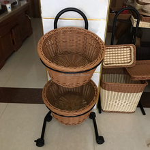 Rattan Bread Basket With Compartment 2 Tier Fruit Basket