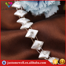 Hot Sale Bridal Pearl Plastic Beaded Chain With Crystal Banding Trim For Shoes Bags