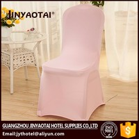 Hot sale new style plain dyed fancy pink spandex chair cover for wedding