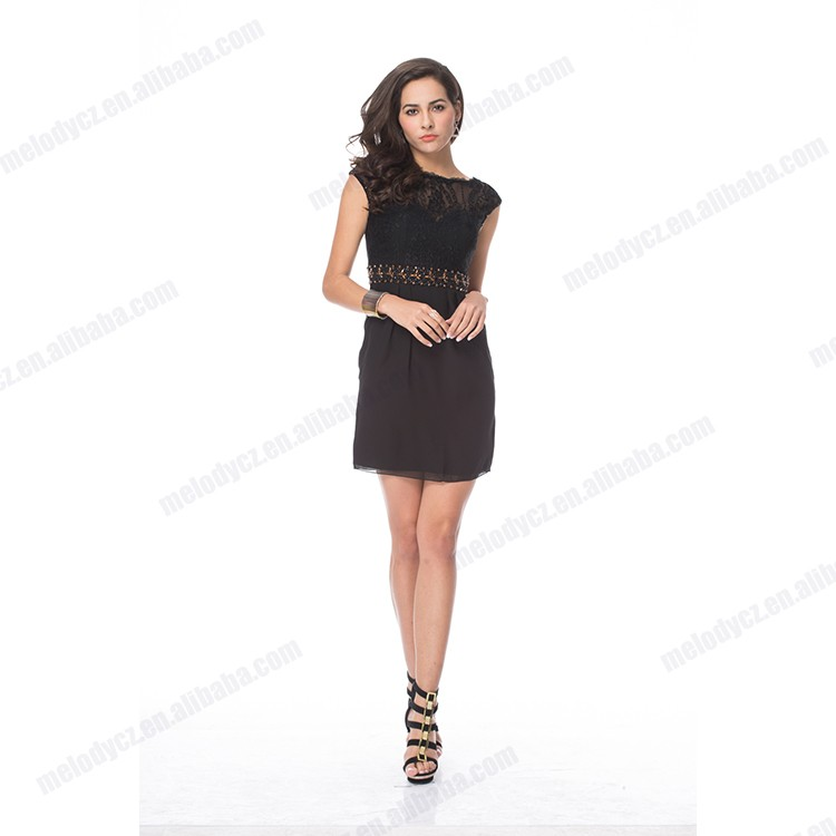 Black short knee-length cocktail lace tulle wristband latest dress patterns ladies