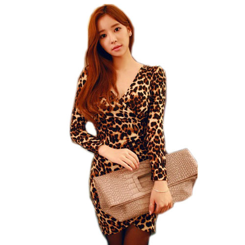 Free Shipping New 2015 Autumn Korean Style Women Long Sleeve Dress Fashion Sexy V-Neck Leopard Bodycon Club Dresses BG-F9328