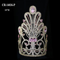 "10"" Wholesale Cheap Light Pink Rhineston Gold Big Pageant Crown"
