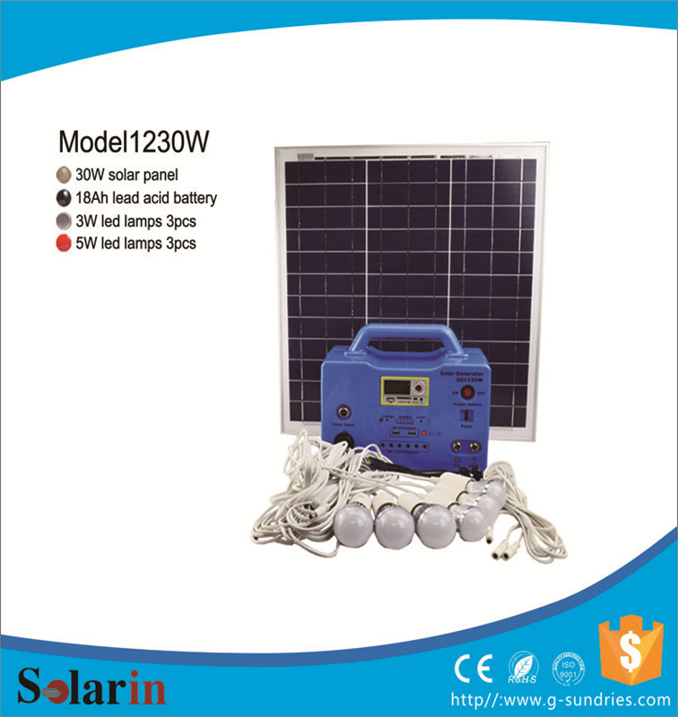 CE Rohs 30w solar system for solar home power solutions