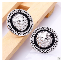 Tin alloys Green paint rose gold Lion's head stud earrings