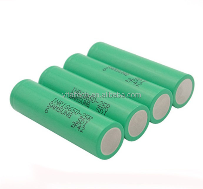 100% Authentic Samsung inr18650-25r Rechargeable Batteray 2500mAh 3.7V 20A Flat Top 18650 li ion bttery