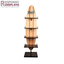 Hot sale customized solid 3 or 4 tier wood and metal floor display stand for wine