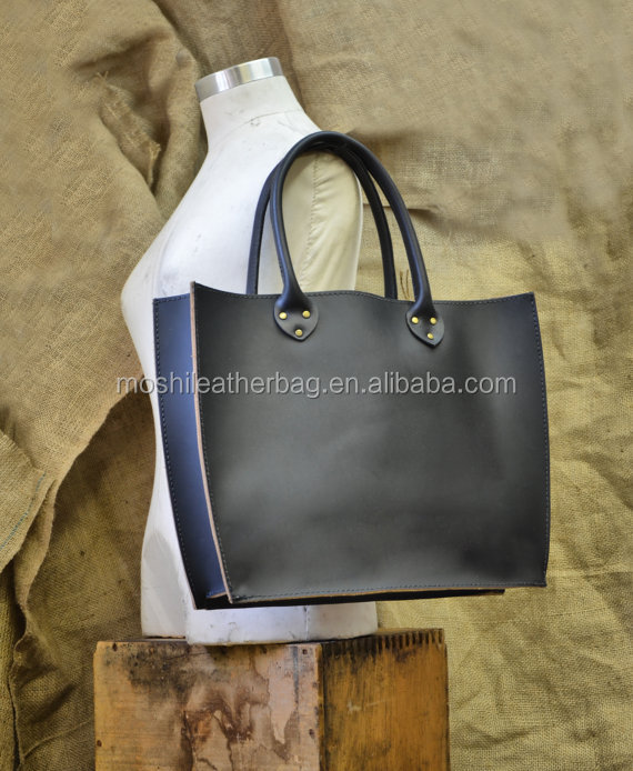 Women Large Leather Tote Bag -Two Tone Shopping Bucket Bag
