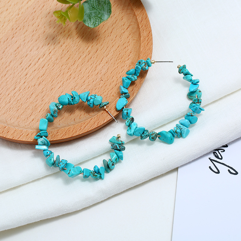 Turquoise hoop earrings for women C shape irregular natural stone earrings coral party earrings jewelry