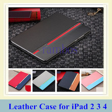 PU Leather Cover Flip Pouch Bag with Stand Function Full Protect Case for iPad 2 3 4