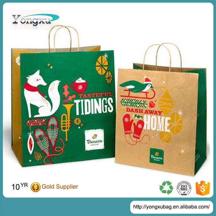 free sample cheapest oem printed kraft brown gift paper bags with paper handles